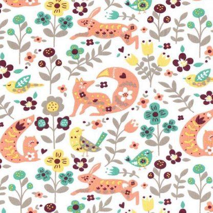 tela estampada animales y flores