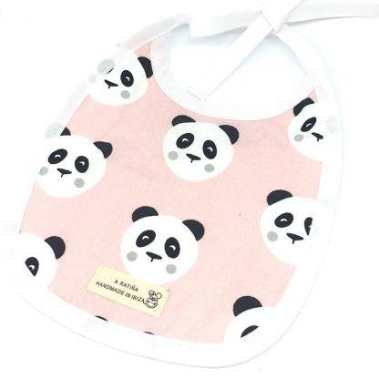 babero plastificado panda rosa