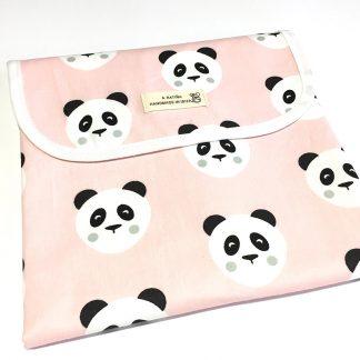 cambiador portátil bebé estampado panda rosa