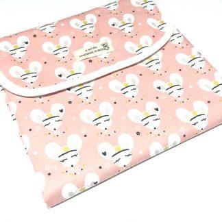 cambiador portátil bebé ratitas fondo rosa