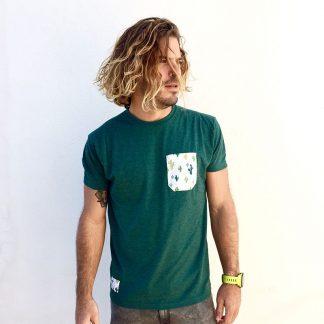 camiseta chico verde botella bolsillo cactus verdes