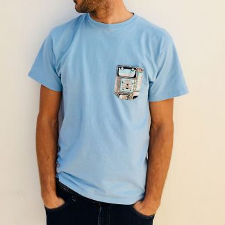 camiseta chico azul celeste bolsillo camper