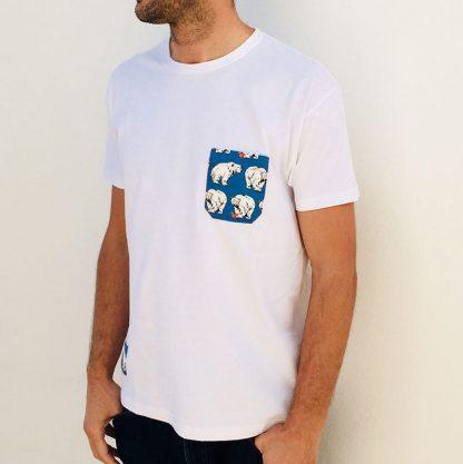 camiseta chico blanca bolsillo osos polares