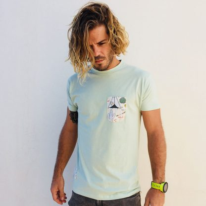 camiseta chico verde mint bolsillo tipis y cactus