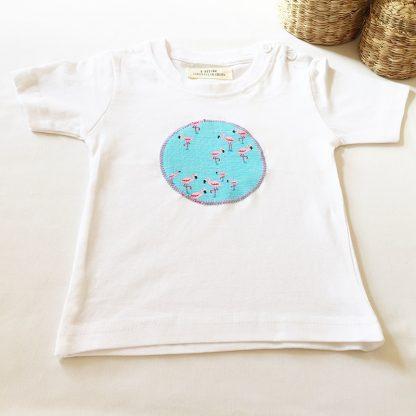 camiseta niños flamencos celeste