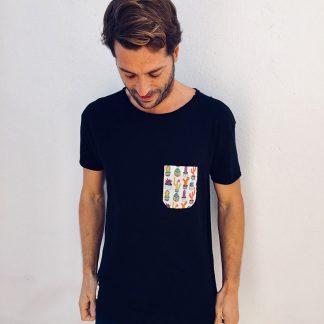 camiseta chico urban negra bolsillo cactus