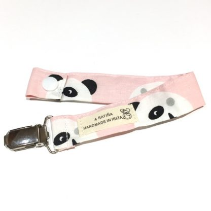 chupetero bebe pandas rosa