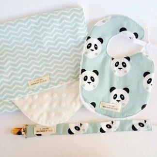 conjunto bebé oso panda mint