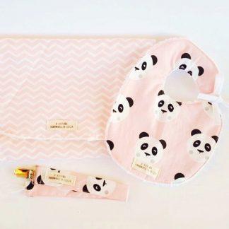 conjunto bebé panda rosa