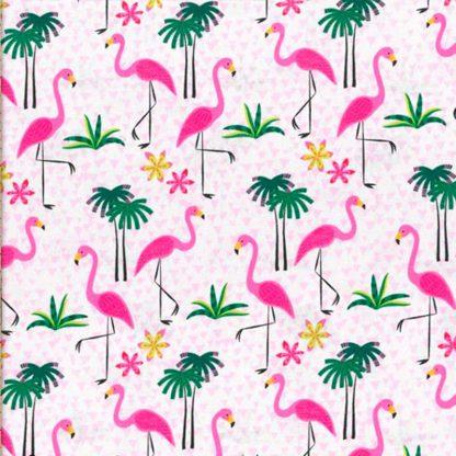 tela flamencos y palmeras