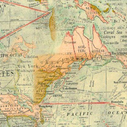 tela mapamundi vintage