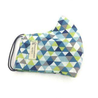 mascarilla triangulos verde azul
