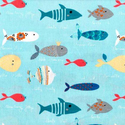 tela estampada de peces de colores