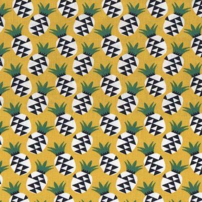 tela piñas amarillas