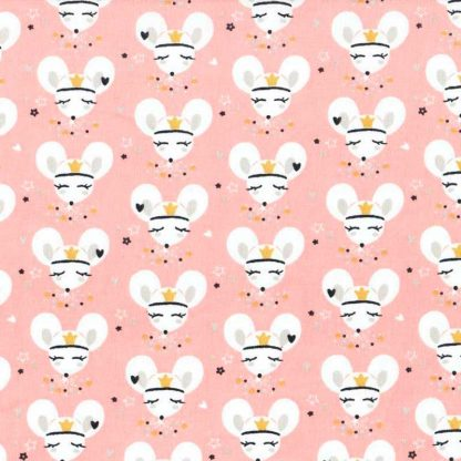 tela estampada de ratitas sobre fondo rosa