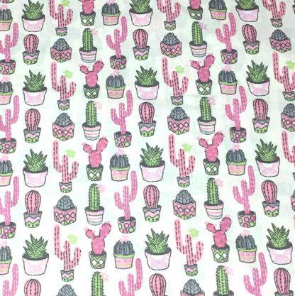 tela estampada cactus rosa