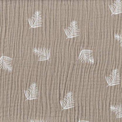 tela muselina gris estampada hojas de palma
