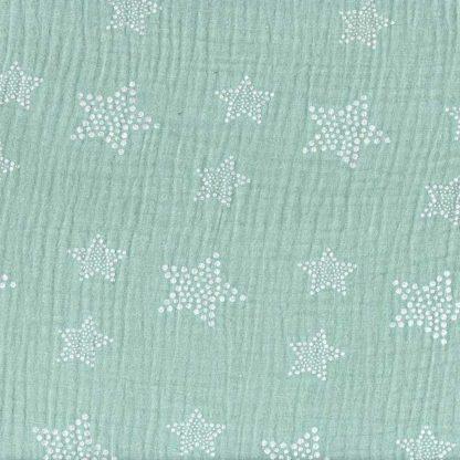 tela muselina verde mint estampada estrellas