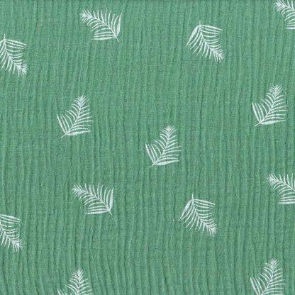 tela muselina verde estampada hojas de palma