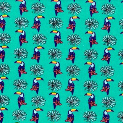 tela estampada tucanes verde